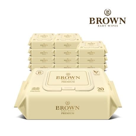 브라운 프리미엄 아기물티슈 20매 휴대용 캡형 12팩