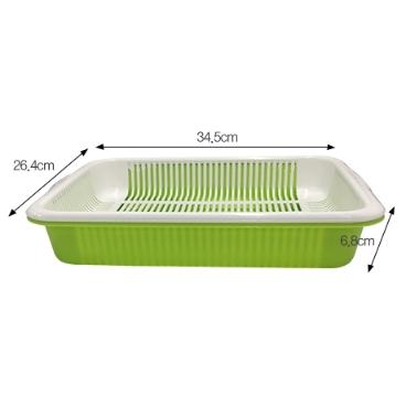 [싸고빠르다] 사각채반 (바닥녹색, 안쪽 하얀색) 26.4 x 34.5 x 6.8cm