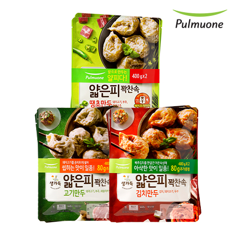 [풀무원]얇은피꽉찬속 김치2봉+고기2봉+땡초2봉