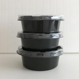 나들이 필수템! 일회용 원형 밀폐형도시락_3입(검정) / 13.5 X 13.5cm / 국물, 과일 포장 가능