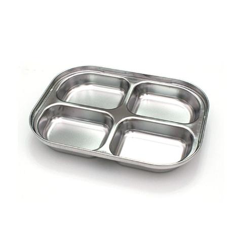 스텐 4구 나눔 다이어트 유아 아기 식판 4절 캠핑 안주 접시 식기 바른식판