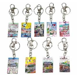한국관광지 에칭러버 열쇠고리(9개)/외국인선물/해외여행기념품/답례품/민속공예품/단체선물/전통공예품
