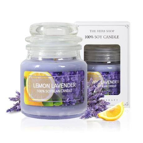 더허브샵 소이캔들 향초 유리병 소형 90g 레몬 라벤더