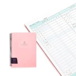 [싸고빠르다] 만년형 포켓 캐쉬북 가계부 핑크 (190x260)