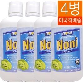 [해외배송] *특가할인* 4병 나우푸드 유기농 노니 쥬스 946 ml