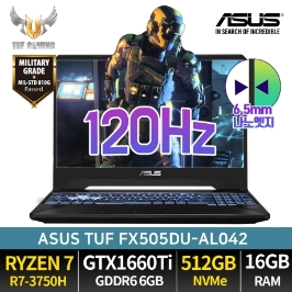 ASUS TUF FX505DU-AL042 라이젠R7-3750H GTX1660Ti NVMe512GB 16GB 게이밍노트북