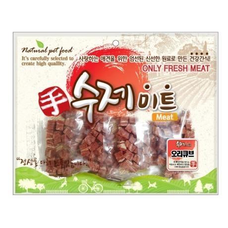 수제미트 대용량 강아지간식 오리큐브 300g