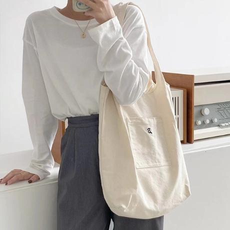 비비엔 여성 숄더백 캐주얼백 무지 에코백 여자 천 데일리 가방 캔버스백