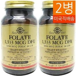 [솔가] [해외배송]2병 솔가 엽산Folic Acid 800mcg250정