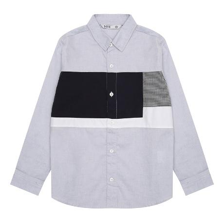 [소이]코튼 절개 배색 셔츠_BL