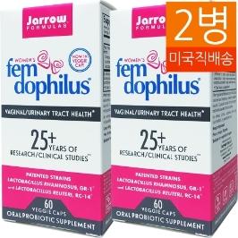 [해외배송]2병 자로우Fem 여성펨 도필러스 50억유산균 60캡