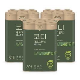 [원더배송] NEW 코디 에코그린 화장지 30m 30롤 3팩 / 친환경특허 획득