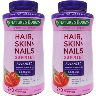 [커클랜드] [해외배송] 2병 네이쳐스 바운티 Hair, Skin and Nails, 230 Gummies