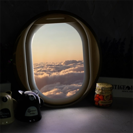 [바보사랑] [바보사랑]LED액자35R_비행기창문밖하늘풍경