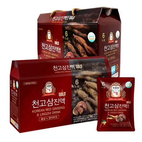 천고삼진액골드 금산 6년근 홍삼 / 홍삼+영지버섯 / 50mlx30포 3개 - 개당 7500원
