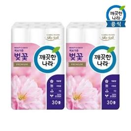 [원더배송]  깨끗한나라 휴지 벚꽃 프리미엄27m30롤 2팩