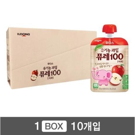 [후디스] 아기밀 유기농과일 퓨레 100 사과 x 10개/유통기한 2019년 10월 22일까지