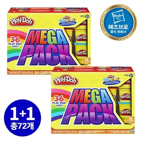 [원더배송] 해즈브로 플레이도우 메가팩 클레이 플레이도 1+1(72캔)