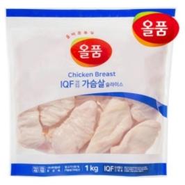 올품 IQF 슬라이스 닭가슴살 10kg ( 1kg x 10봉 )