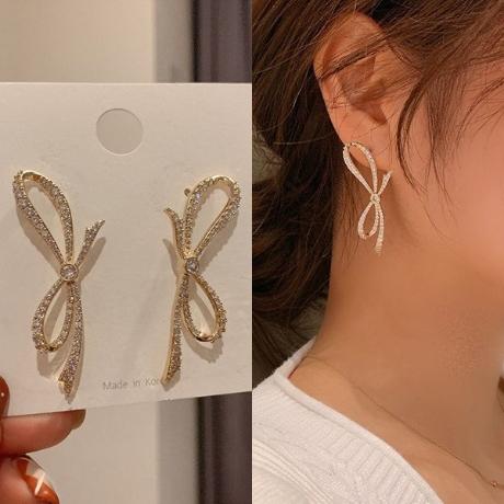 워더미 은침 리본 큐빅 귀걸이 N536 [C]