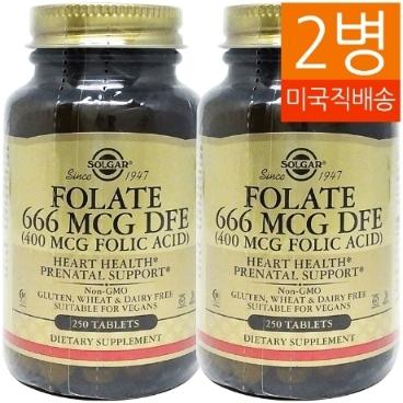 [해외배송]2병 솔가 엽산Folic Acid 400mcg 250정