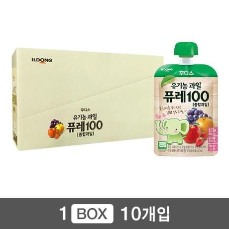 [일동후디스] 후디스 유기농과일 퓨레100 종합과일 (80g)x10개 [유통기한 2020-08-28]