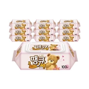 [더싸다특가] 땡큐 캡형 물티슈 100매 10팩