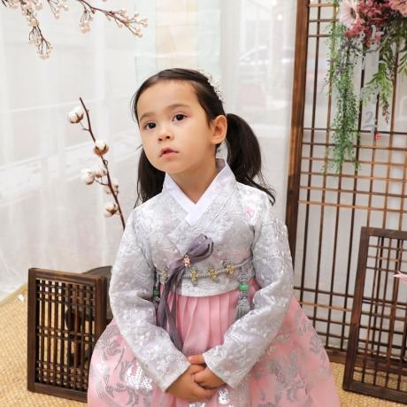 아가명주 은빛백화여아한복 아동한복 돌한복