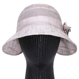 [AK몰] [파파브로]국산 여름모자 여성 리본 코사지 여름 나들이 벙거지 모자 KM-WH0119-베이지