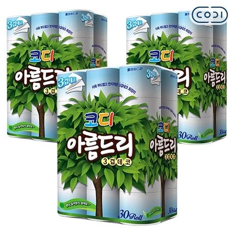 [원더배송] 코디 아름드리 화장지 3겹 27m 30롤 3팩