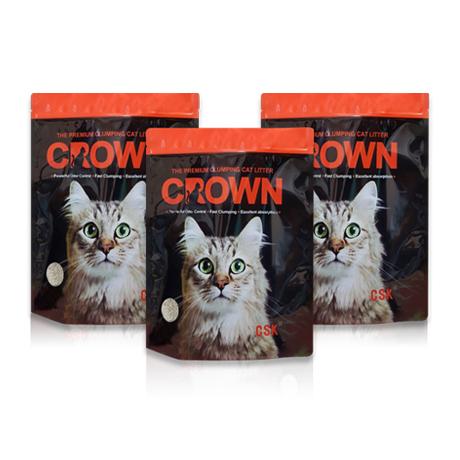 [1+1+1] 크라운 먼지없는 벤토나이트 고양이모래 7kg X 3개 / 응고형 오리지널 무향
