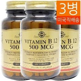 [솔가] [해외배송] 3병 솔가 비타민B12 500mcg 100정