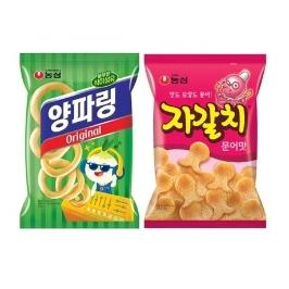 [게릴라특가] 농심 자갈치 90g 5봉+ 양파링 84g 5봉