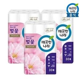 [원더배송] 깨끗한나라 휴지 벚꽃 프리미엄 27m30롤 3팩(총90롤)
