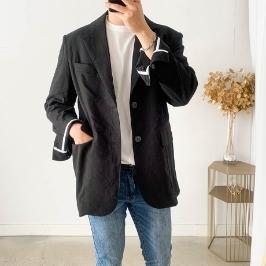 7e6f8f7ad38 [멜비] [소호패션] 루즈핏 린넨 모던 투버튼 블레이져 자켓 (2color