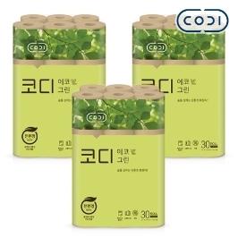 [원더배송] 코디 에코그린 화장지 30m 30롤 3팩 / 친환경특허 획득