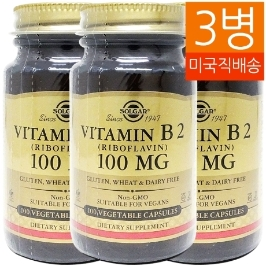 [솔가] [해외배송]3병 솔가 비타민B2 리보플라빈 100mg 100정