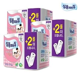 [원더배송] 식품사용 잘풀리는집 키친타올 150매 4+2입 X3팩 (총18롤)