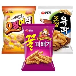 [원더배송] 농심 오꿀조 과자 9봉 (오징어집3봉+꿀꽈배기3봉+조청유과3봉)