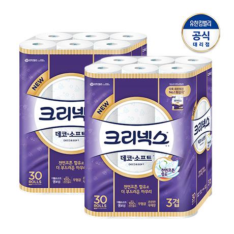 [크리넥스] ★베스트★크리넥스 데코 앤 소프트 화장지 [27M 30롤]X2팩