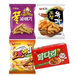 [더싸다특가] 농심 꿀조오닭 과자 12봉 (꿀과배기3+조청유과3+오징어집3+닭다리후라이드3)