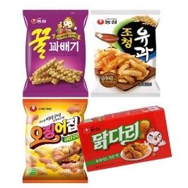 [원더배송] 농심 꿀조오닭 과자 12봉 (꿀과배기3+조청유과3+오징어집3+닭다리후라이드3)