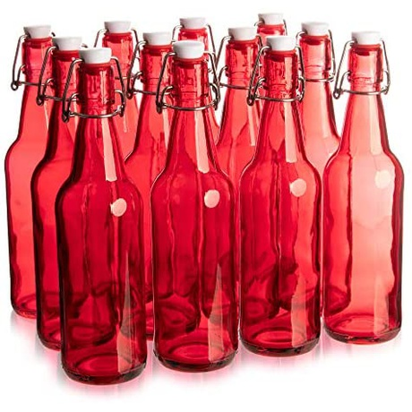 [해외] 칵테일 16.9온스 빨간 유리 Grolsch 맥주병, 쿼트 크기