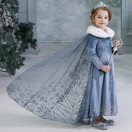 겨울왕국2_퍼 둥근카라 엘사 드레스