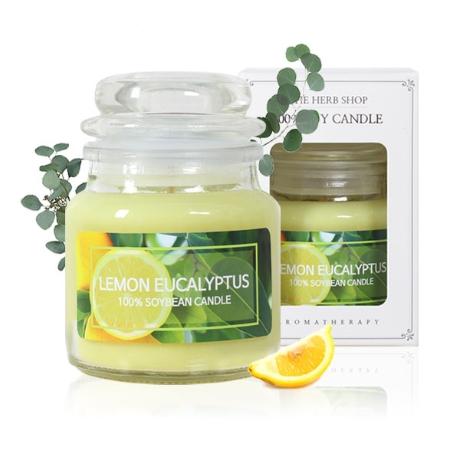 더허브샵 소이캔들 유리병 소형 90g 레몬 유칼립투스