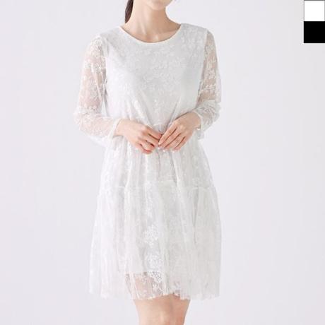 여자레이스원피스 플라워 패턴 여성의류 프릴소매 꽃무늬