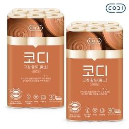 [원더배송] [원더쿠폰] 코디 한방황토 3겹 25m 30롤 2팩 화장지
