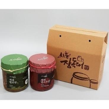 [시흥시장독대협동조합] 500g 맛있는 된장 연된장+ 450g 맛있는 고추장 연고추장 세트