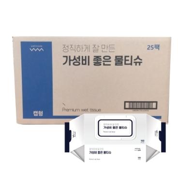 [웰메이드코리아] 웰메이드 가성비 좋은 물티슈 100매 캡형 25팩 박스