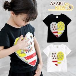 [보리보리]아자브키즈 투컬러스팽글하트티아동유아여름티셔츠